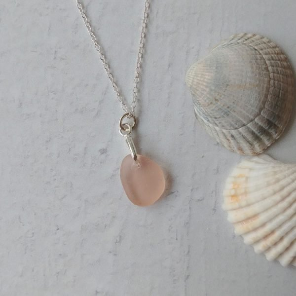 pink seaglass pendant necklace