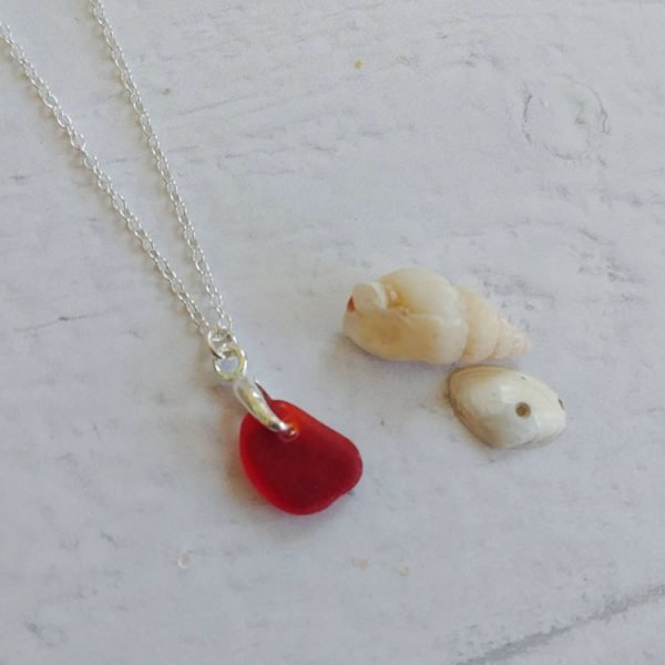 rare red seaglass pendant necklace