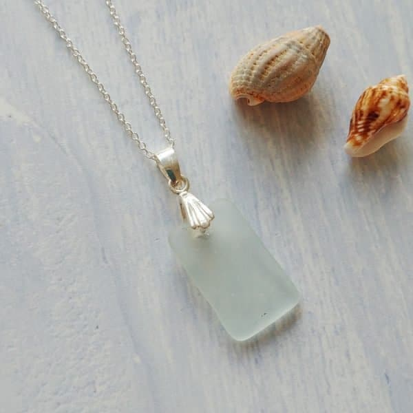 rectangle shaped sea glass pendant necklace