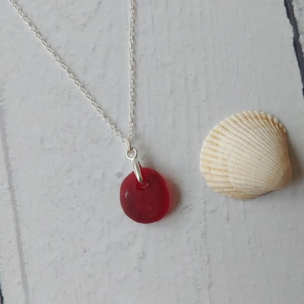 rare red seaglass pendant necklace