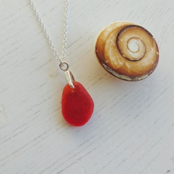 red seaglass pendant necklace