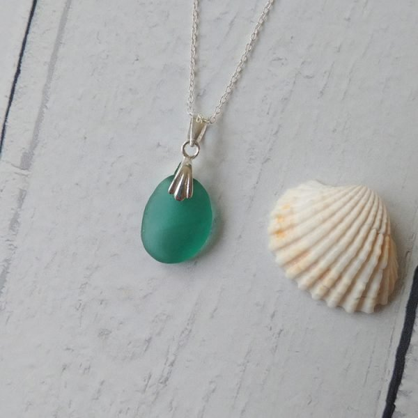 sea green seaglass pendant necklace