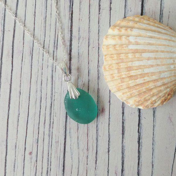 sea green seaglass pendant necklace