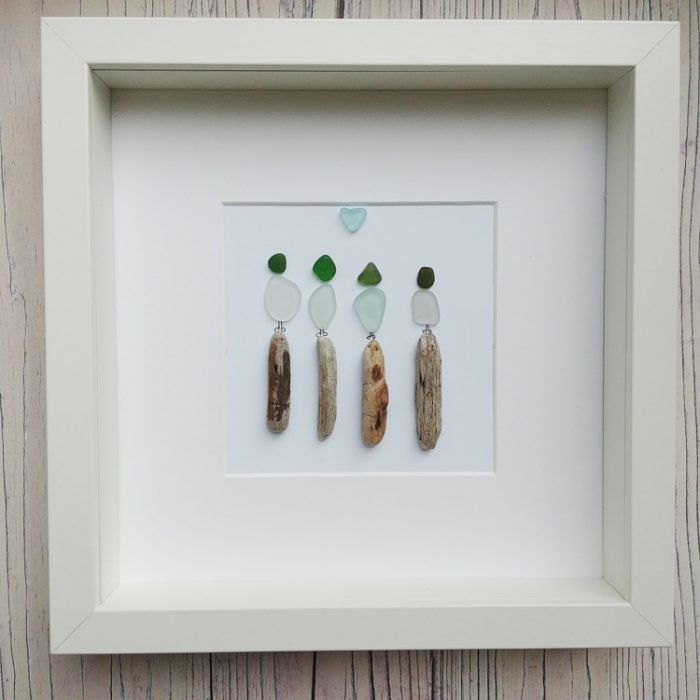 sea glass family framed personalised picture