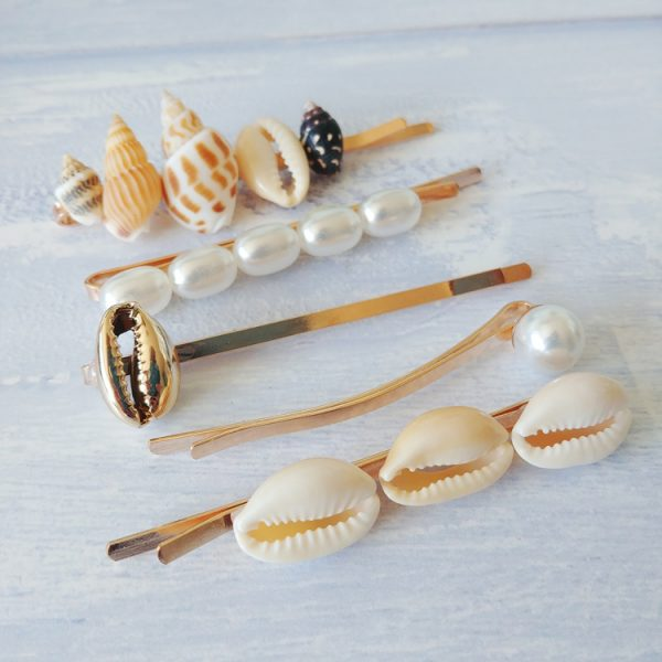 seashell and pearl hairclips