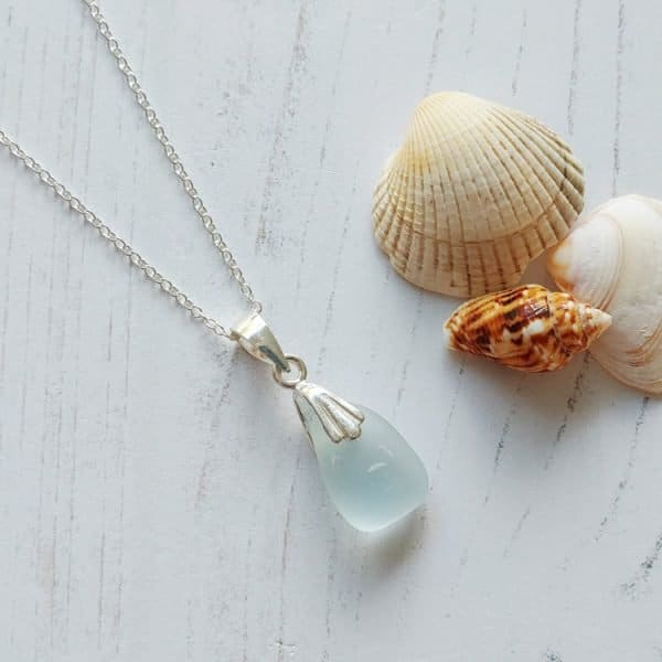 clear sea sea glass pendant necklace