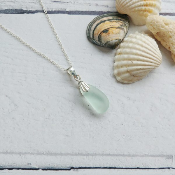 small pale blue seaglass pendant necklace