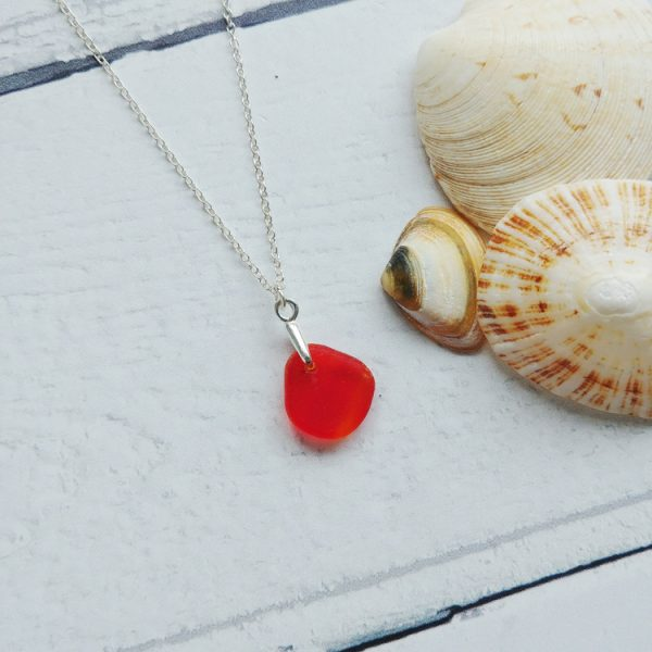 small rare red sea glass pendant necklace