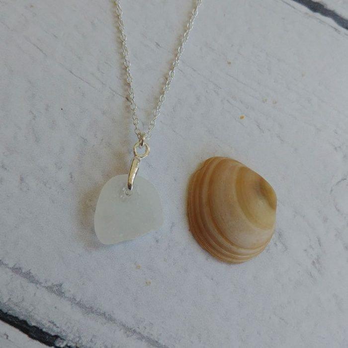 white seaglass pendant necklace