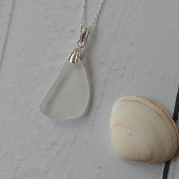 white seaglass pendant necklace