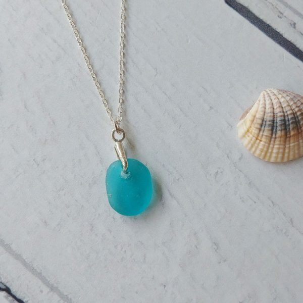 turquoise seaglass pendant necklace