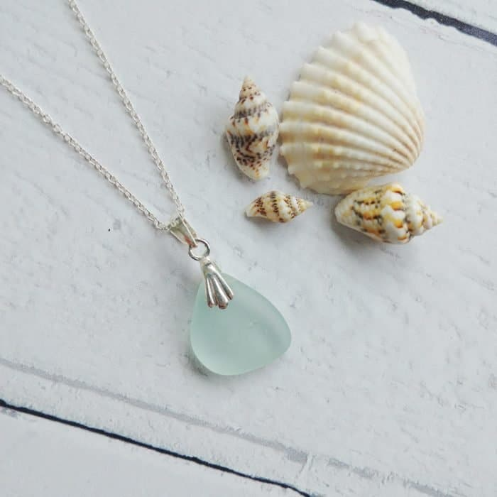 sea blue sea glass pendant necklace