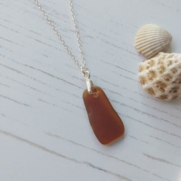 brown rectangle seaglass pendant necklace