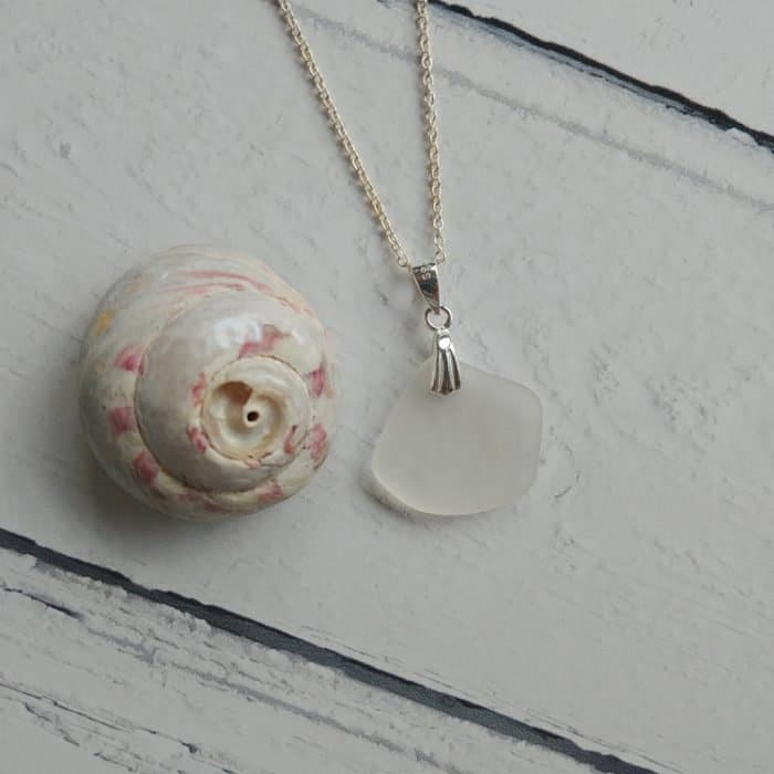new clear seaglass pendant necklace