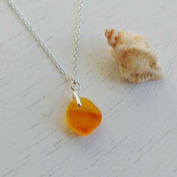 orange seaglass pendant necklace