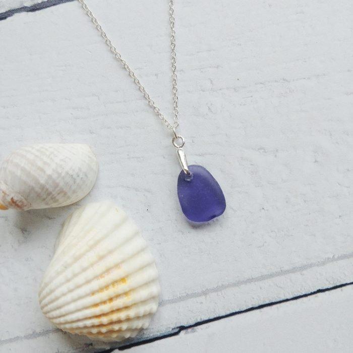 purple small sea glass pendant necklace