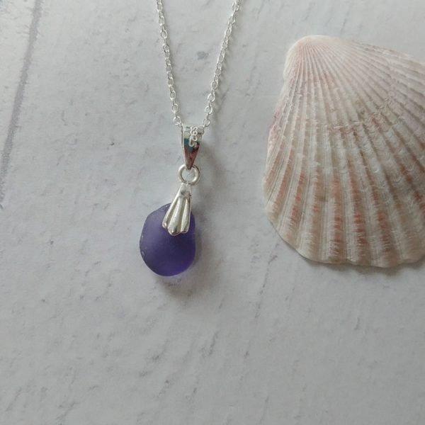 purple seaglass pendant necklace
