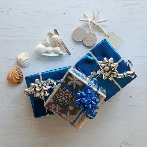 wrapped nautical christmas gifts