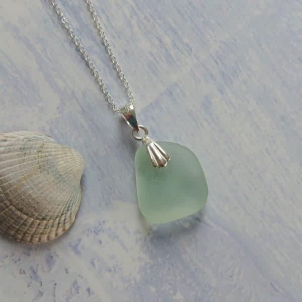 seaside blue seaglass pendant necklace