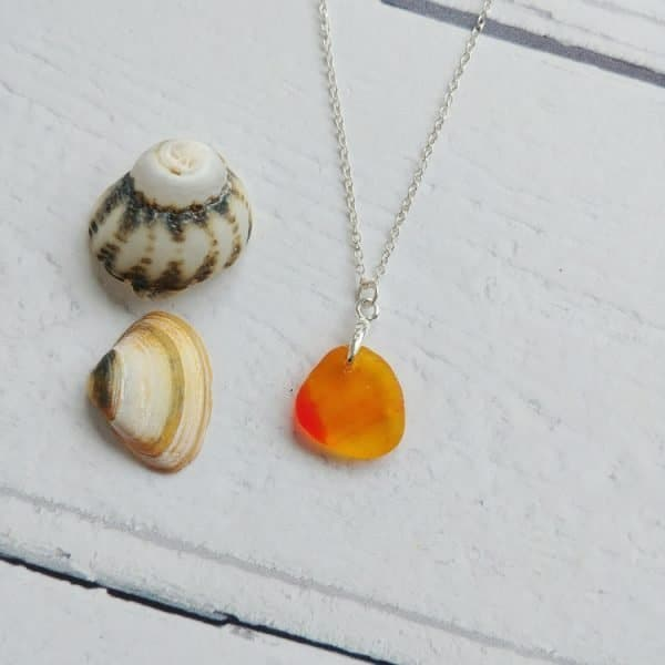 small orange sea glass pendant necklace