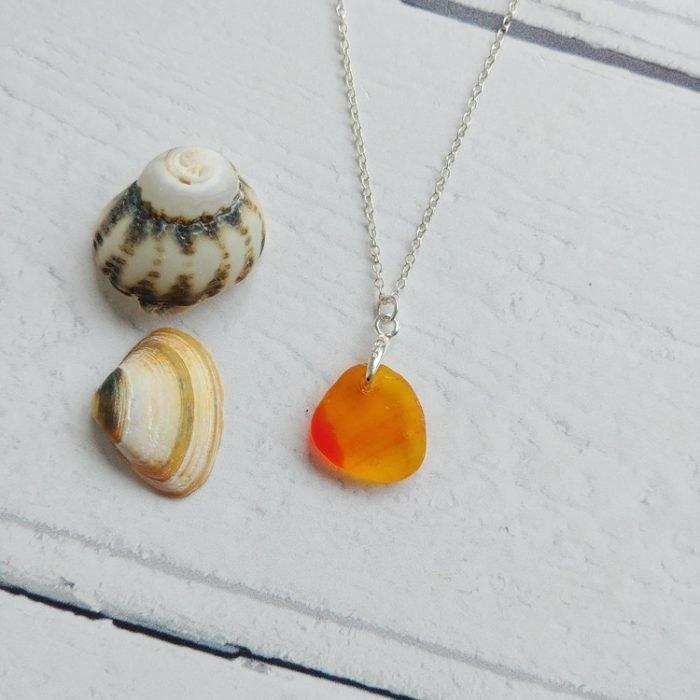 small orange sea glass pendant necklace