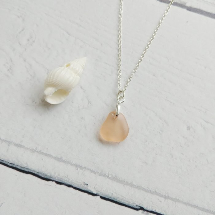 small pink sea glass pendant necklace