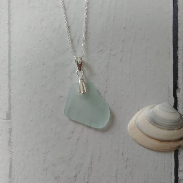 summer seaglass blue pendant necklace