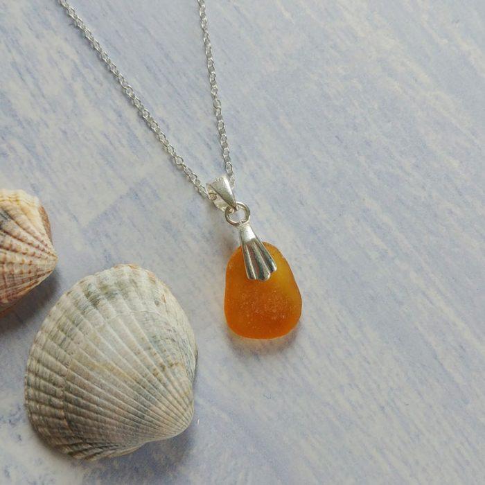 sunshine yellow seaglass necklace