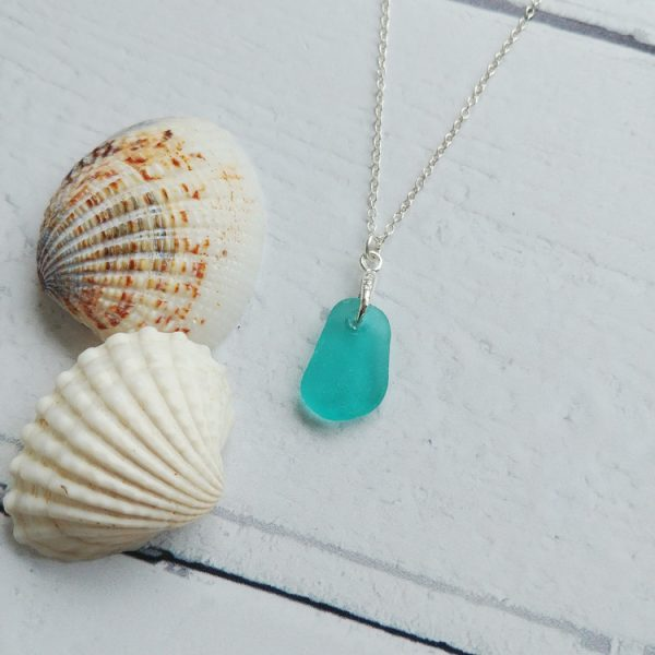 Turquoise small sea glass pendant necklace