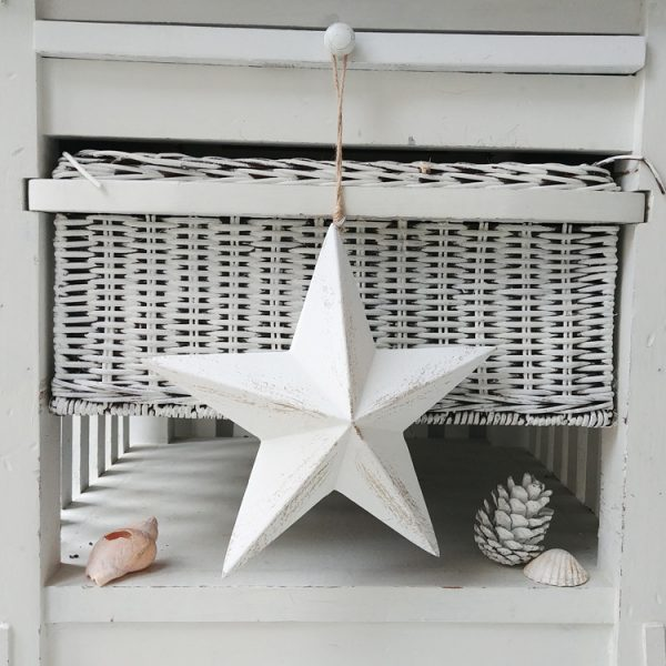 sea star white hanging wooden star