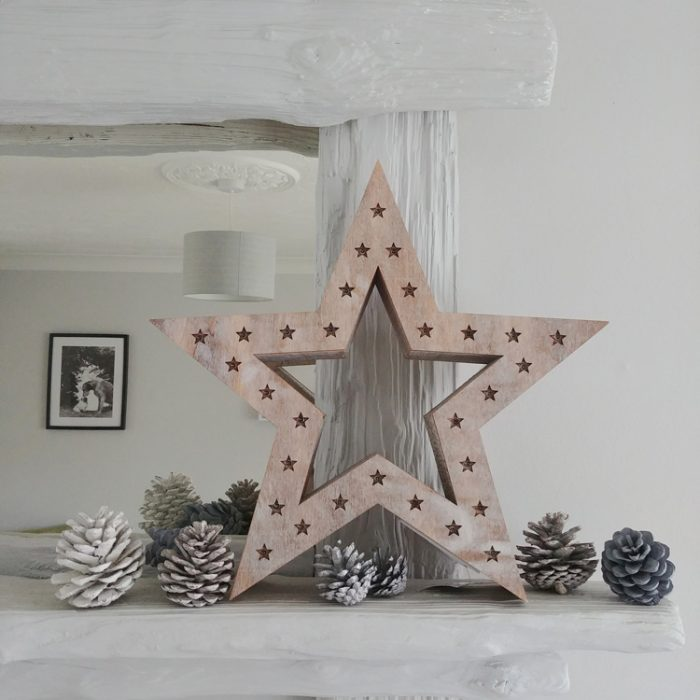 light up wooden standing star