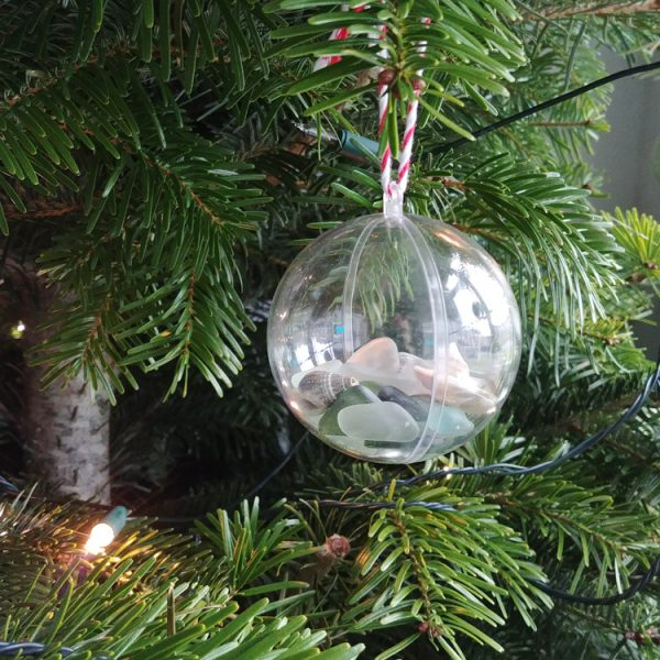 seaside seaglass and shell hanging bauble