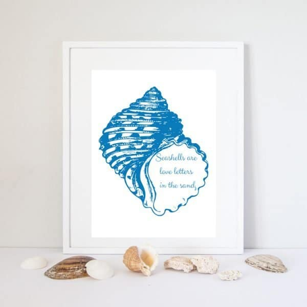 seashells are love letters in the sand quote print