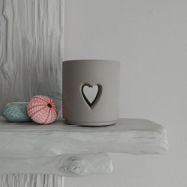 grey porcelain cut out heart tea light holder