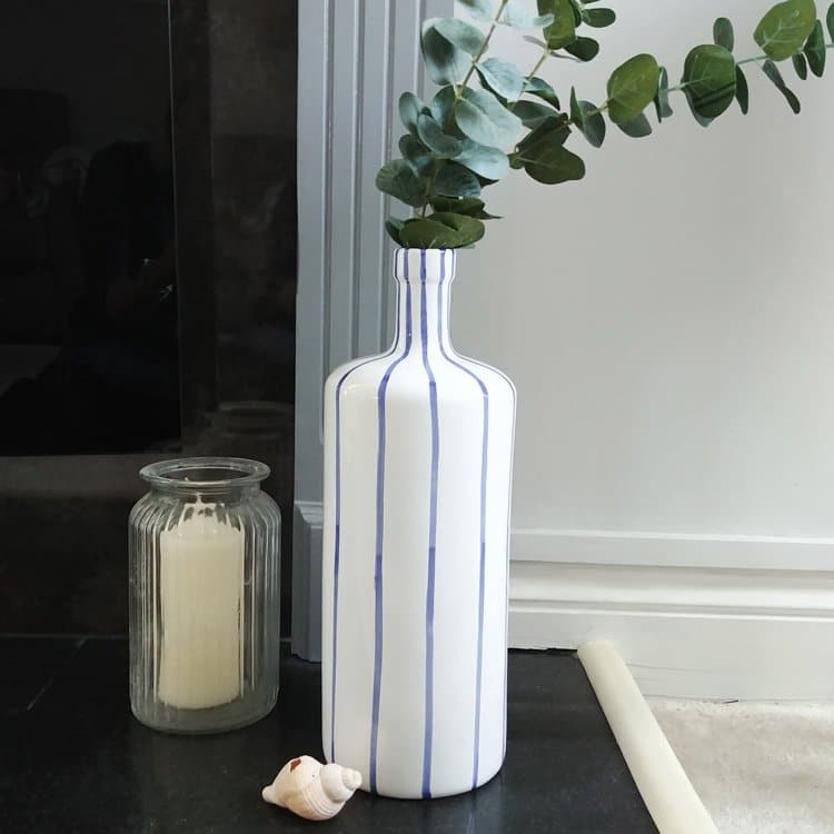 Blue And White Stripe Tall Ceramic Vase Coastal Decor