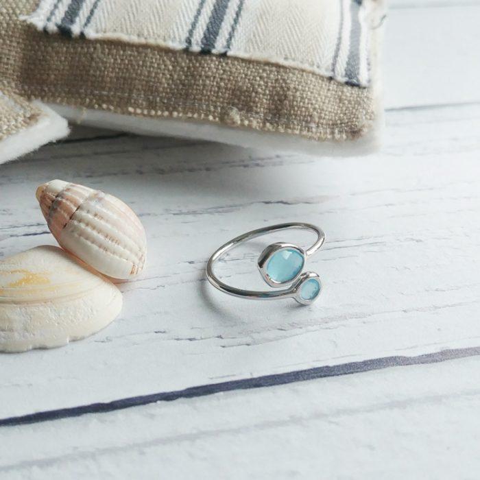 caribbean blue gemstone sterling silver adjustable ring