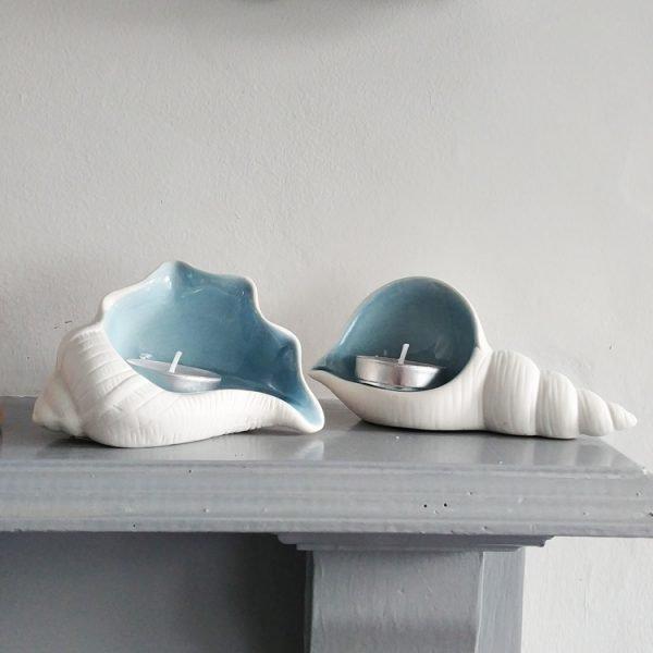 set of two shell shaped tea light holders