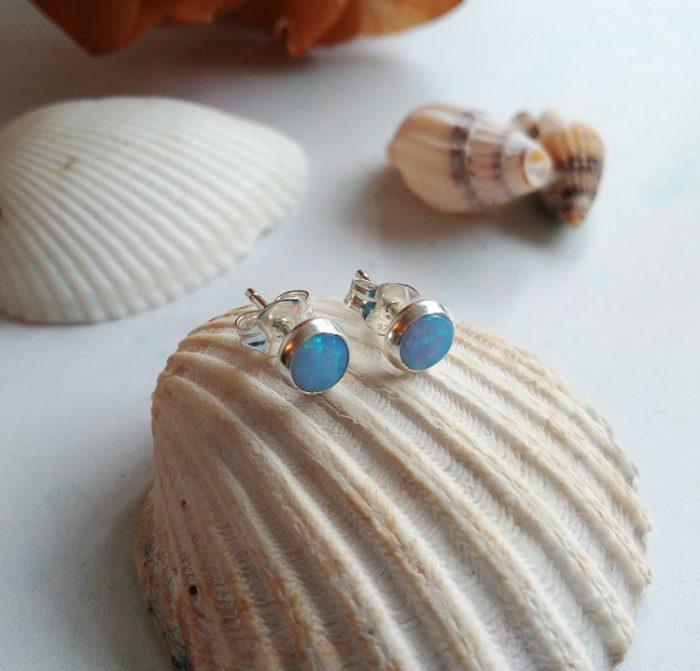 blue opal sterling silver stud earrings