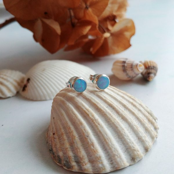 blue opal sterling silver stud earrings