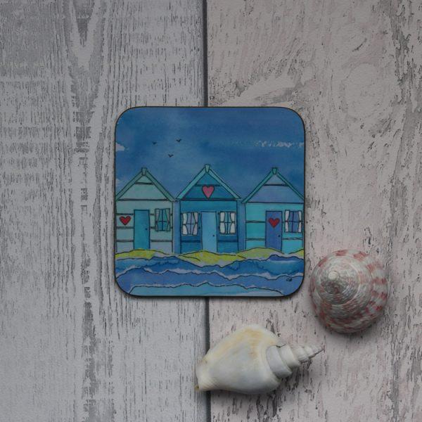 beach huts coaster