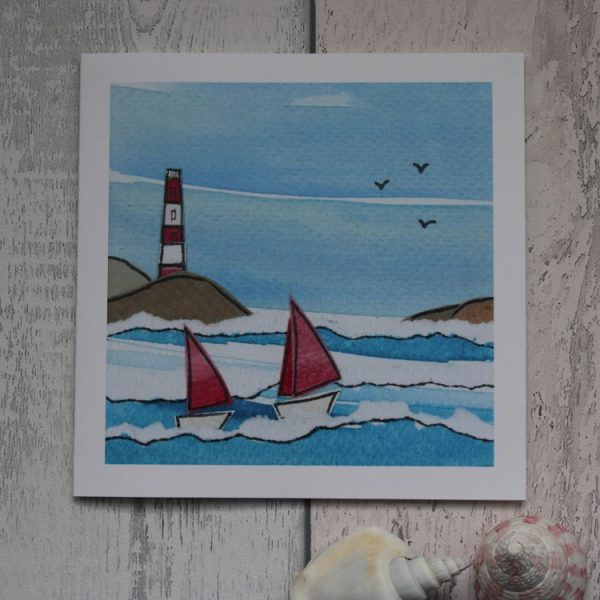 lighthouse sailing greeting card