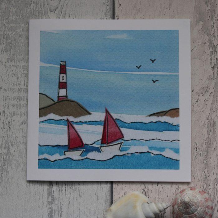 lighthouse sailing greeting card