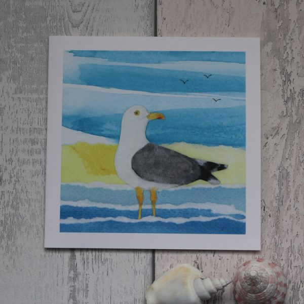 paddling seagull greeting card