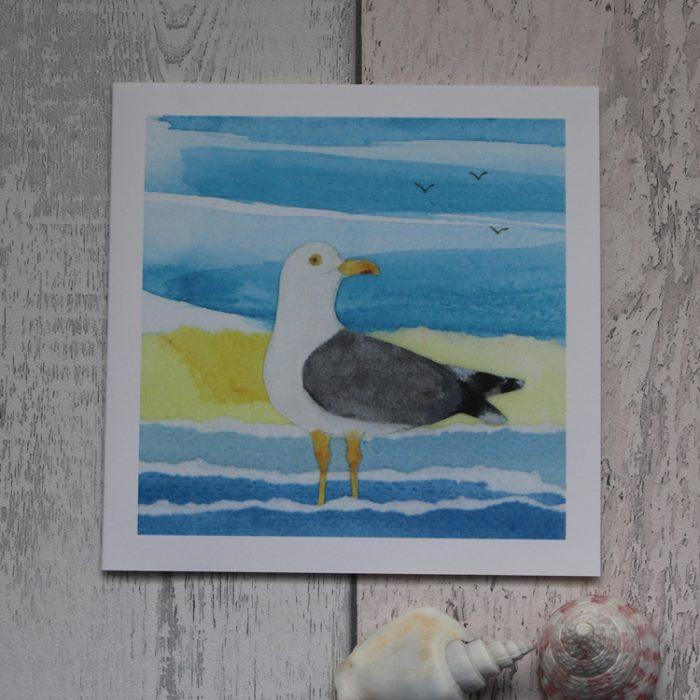 paddling seagull greeting card