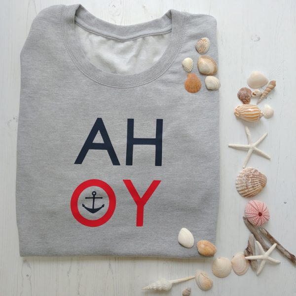 ahoy grey ladies sweatshirt