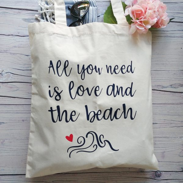 all you need is love and the beach cotton tote bag