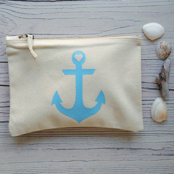 cream cotton anchor pouch