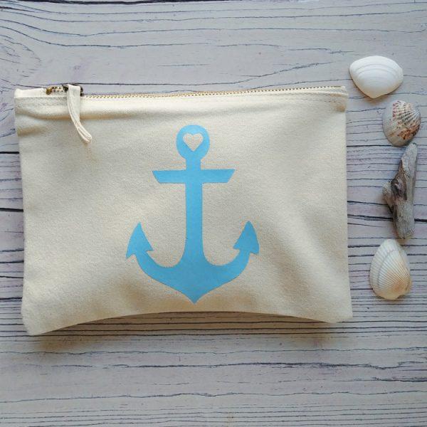 cream cotton anchor pouch