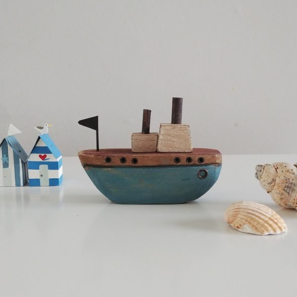 sail the seas blue wooden boat decoration