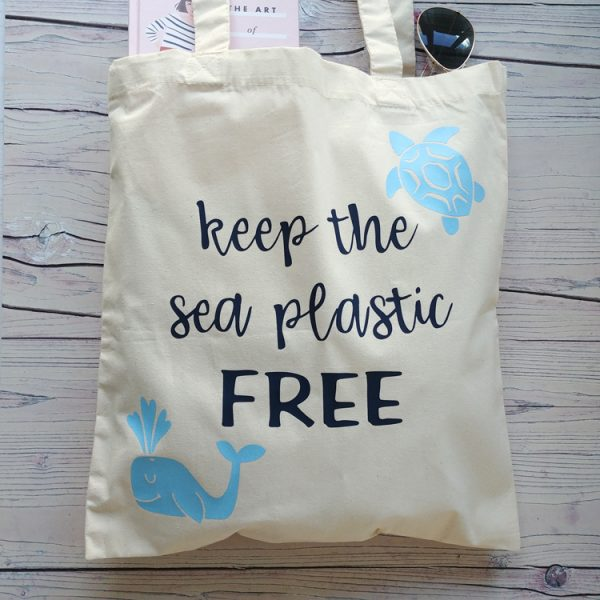 keep the sea plastic free cotton tote bag
